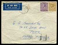 Lot 4082 [1 of 2]:1934 (Dec 14) air cover with 3d & 1/- KGV, from Herne Bay to Perth, WA, minor faults.