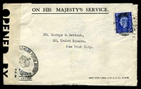 Lot 3581 [1 of 2]:1942 use of 2½d blue KGVI, cancelled with double-circle 'LONDON/745AM/20FE/42/F.S.59' (B1) on cover with OHMS 'WAR ECONOMY LABEL', to New York, bearing 'LONDON POSTAL REGION/[crown]/EASTERN CENTRAL SECTION' (B2) with some reinforcement in blue ink & partially covered by 'P.C.90/OPENED BY/EXAMINER 1046' label, includes short letter from Divisional Controller, London Postal Region.