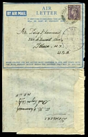 Lot 4167:1946 use of 3d mauve KGVI, cancelled with double-circle 'FIELD POST OFFICE/7OC/46/155' (A1-) of Amman on air letter sheet to Ithaca, New York from Arab Legion Artillery MELF, with 'ARMY/AMN7IX46/SIGNALS