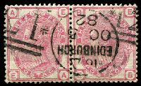 Lot 4053:1880-83 Large Coloured Letter Wmk Imperial Crown SG #158 3d rose plate 21 pair [EA-EB], Cat £180.