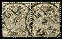 Lot 4054:1880-83 Large Coloured Letter Wmk Imperial Crown SG #160 4d grey-brown plate 18 pair [DG-DH], Cat £130.