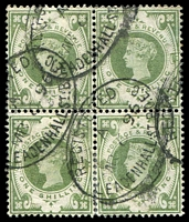 Lot 4056:1887-92 QV Jubilee SG #211 1/- dull green block of 4, Cat £280, with 1896 Leadenhall St cancel, nice multiple.