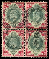 Lot 3800:1902-10 KEVII SG #257 1/- dull green & carmine block of 4, Cat £140, fie 1902 Porchester Rd cds.