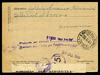 Lot 3735 [2 of 2]:1944 use of German 'Feldpost' lettersheet, cancelled with 'POSTA DA CAMPO/B/000-5-6.44/' (A1 - FPO 82569-C), to Bologna, 'Verificato Censura' tape at the base, various Italian handstamps on back. [From Italian Forces serving with Germans.]
