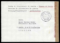 Lot 4245:1973 use of stampless envelope, cancelled with double-circle 'WESTHEIM/b/26.2.73-18/3536' (A1), to Major Walter Reder, Military Prison, Gaeta, sealed at right with brown tape, straight-line handstamp 'RECLUSORIO MILITARE GAETA' (A1) in red. [Reder was an SS Major resposible for the slaughter of over 1800 people in the Marzabotto area of Italy.]
