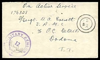 "Lot 4040:1941 use of stampless ""On Active Service"" cover, cancelled with mute double-circle '19DE/1941', to Dodoma, with triple circle 'MILITARY CENSOR/12/*', part flap missing."