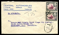 Lot 25073:1948 (Jan 26) use of 50c pair on air cover to Melbourne. Underpaid by 30c and taxed 75c.