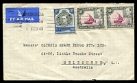 Lot 25075:1949 (Feb 9) use of 30c & 50c pair on air cover to Melbourne.