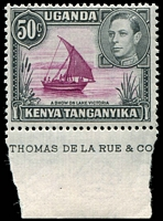 Lot 4268:1938-54 Pictorials SG #144ea 50c purple & black part imprint single, P13x12½, Dot removed in left scroll, Cat £25.