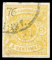Lot 25353:1874-79 Arms SG #43a 5c yellow, imperf, with partial 1876 cancellation. [Scott lists this as a probable essay with used value US$1,000.]