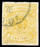 Lot 4298:1874-79 Arms SG #43a 5c yellow, imperf, with partial 1876 cancellation. [Scott lists this as a probable essay with used value US$1,000.]