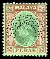Lot 4385:1935-37 Sultan Iskander SG #102s, $5 green & red on emerald perf 'SPECIMEN'.