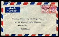 Lot 24815:1948 (Aug 21) use of 10c & 25c on air cover from Singapore to Melbourne.