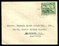 Lot 4325:1948 solo use of 1d green Self Government on cover to Melbourne.