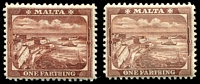 Lot 4108:1899-1901 Pictorials SG #31,31a ¼d brown Wmk crown to left of CA & ¼d red-brown.