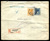 Lot 4144:1938 (Apr 4) use of Wilhelmina 15c & 20c on registered cover to Melbourne, small faults.