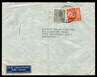 Lot 26065:1938 (May 20) use of 27½c Wilhelmina & 40c Air on air cover to Melbourne, endorsed '5g', small faults.