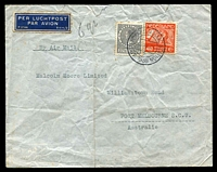 Lot 4391:1938 (Mar 25) use of 27½c Wilhelmina & 40c Air on air cover to Melbourne, endorsed '6gr', small faults.