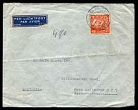 Lot 4145:1938 (Mar 7) use of 40c Air on air cover to Melbourne, endorsed '7gr', small faults.