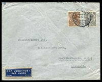 Lot 4390:1938 (Apr 6) use of 27½c & 40c Wilhelmina on air cover to Melbourne, small faults.