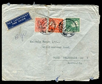 Lot 26064:1938 (Mar 28) use of 7½c Wilhelmina & Air 40c & 75c on air cover to Melbourne, endorsed '10gr', faults.