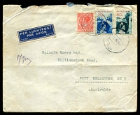 Lot 4389:1938 (Feb 7) use of 7½c Wilhelmina & Air 70c & 80c on air cover to Melbourne, endorsed '17gram', faults.