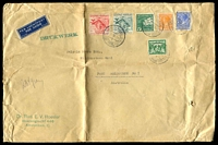 Lot 19663:1938 (Feb 7) use of 13g05 (2½c, 12½c, 15c & Air 75c, 4½g & 7½g) on air cover to Melbourne, endorsed '234gram' and 'DRUKWERK' (printed matter), faults. Very high rate
