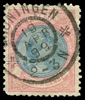 Lot 25671:1891-94 Wilhelmina SG #161 2g50 ultramarine & rosine P11½x11, odd short perf, Cat £200.
