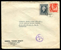 Lot 4396:1948 (Sep 15) use of 10c scarlet & 30c grey on air cover from Batavia to Melbourne, minor faults.
