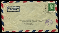 Lot 4151:1948: (Aug 21) use of 40c green on air cover from Batavia to Melbourne, tear at left.