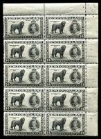 Lot 4450:1937 Coronation Issue 14c black P14 TRC block of 10 (2x5) five right units with various re-entries including Re-entry of NEWFOUNDLAND DOG and WF [3/10], unit 1/10 gum faults, hinged in margin only.