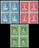 Lot 4477:1938 Royal Family SG #268-70 2c, 3c & 3c in blocks of 4, one unit in each block hinged, Cat £30.