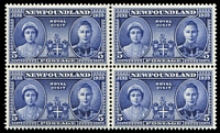 Lot 4009:1939 Royal Visit SG #272 5c blue block of 4, one unit hinged, Cat £13.