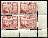 Lot 4205:1941-44 Pictorials Perf 12½ SG #289 48c red-brown BRC block of 4, hinged in margin only Cat £20+, '1' in margin.