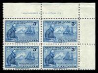 Lot 4451:1941 Labrador Mission SG #275 5c imprint block of 4, hinged in margin only.