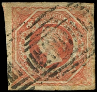 Lot 663:1854-59 Imperf Large Diadems Wmk Double-Lined Numeral SG #99a 1/- rosy vermilion wmk 8, 4 large margins, Cat £180, minor paper faults.