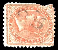 Lot 928:95: rays (2R30) on 1882 1d DLR (small faults). [Rated 4R]  Allocated to Brownlow Hill-PO 1/4/1861; closed 30/6/1921.