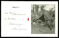 Lot 4444 [2 of 2]:1918-19 Christmas & New Year Card green & red Tiki on face with photo of troops camping in a forest. Fine condition.