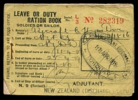 Lot 4474:1919 Leave or Duty Ration Book missing only one ration segment otherwise complete, triple-oval 'N.Z. CONVALESCENT DISCHARGE DEPOT/11APR1919/TORQUAY' on face.