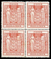 Lot 4185 [2 of 2]:1931-40 Arms Cowan Paper SG #F148 4/- red block of 4, Cat £60++ (CP #Z32d(z), Cat $400+), with strong offset on reverse
