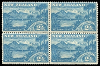 Lot 4442:1898 Pictorials SG #249 2½d 'WAKITIPU' block of 4 (1 MUH), Cat £44++.