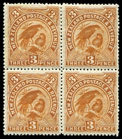 Lot 4167:1898 Pictorials SG #251 3d yellow-brown block of 4, Cat £104++.