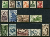 Lot 24319:1952-58 Pictorials SG #1-15 set of £1 (rounded corner), excl 3½d black, Cat £28. (15)