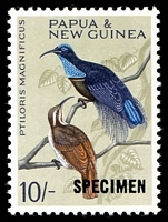 Lot 4231:1964-65 Birds SG #71s 10/- optd 'SPECIMEN'.