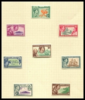 Lot 4502:1940-51 Pictorials SG #1-8 complete set of original issue (no 4d & 8d), Cat £14, ½d has cross perf guide in TLC. (8)