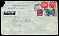 Lot 26822 [1 of 2]:1948 (Feb 13) use of 1$75 Magellan & Caravel $50 & 2$50 pair on air cover to Melbourne, faults