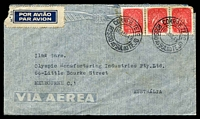 Lot 27475 [1 of 2]:1948 (Apr 16) use of 2$50 Caravel x3 on air cover to Melbourne, small faults.