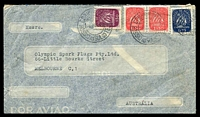 Lot 27476:1948 (Aug 8) use of Caravel $50, 1$75 & 2$50 pair on air cover to Melbourne, small faults.