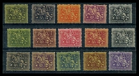 Lot 4254:1953-71 Knight SG #1079-93 set excl 2E30 & 2E50 olive-green, MNG, Cat £100. (15)
