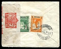 Lot 27478:1939 use of 6r green & 2t orange, cancelled with 'CORREIOS & TELEGRAFOS/ES AD/DA/INDIA
